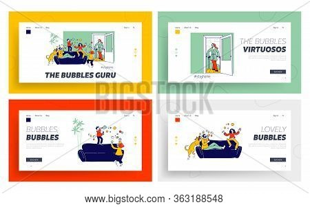 Parents And Kids Playing, Blowing Soap Bubbles Landing Page Template Set. .happy Family Characters A