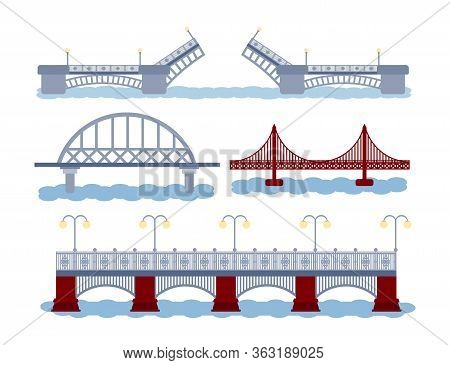 Icon Set Og Bridge With River. Various Types Of Construction. Opening, Railway, Motorway. Vector Ill