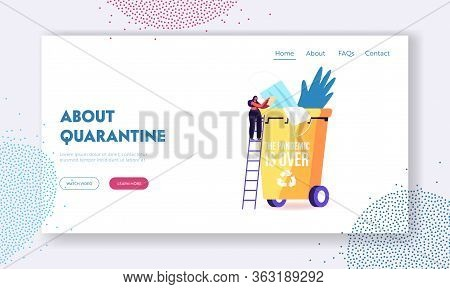 Quarantine Home Isolation Finish Landing Page Template. Female Character Stand On Ladder Throw Out M