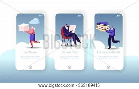 Cloud Computing Storage Mobile App Page Onboard Screen Template. Tiny People Characters Use Cyberspa