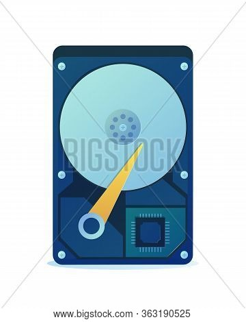 Hard Disk Icon Isolated On White Background. Internal Hard Drive Mechanism In Cartoon Style. Compute