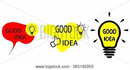 Good Idea Banners. Quick Tips Badge With Light Bulb And Speech Bubble. Set Of Quick Tips. Vector Ill