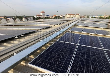 Solar Pv Rooftop With Cable Raceway City Background
