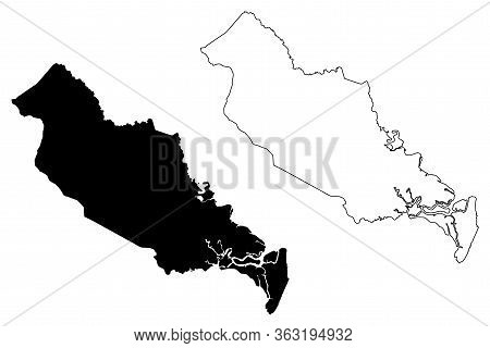 Liberty County, Georgia (u.s. County, United States Of America,usa, U.s., Us) Map Vector Illustratio