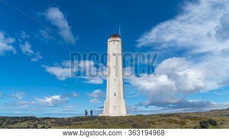 Malarrif , Iceland - August 2019: Malarrif Lighthouse On The Snaefelssnes Peninsula