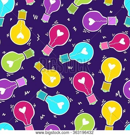 Light Bulb With Heart Seamless Vector Pattern. Hand Drawn Doodle Colorful Fun Background With Bulbs.