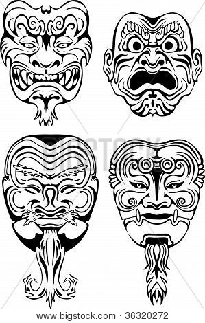 Japanese Noh Theatrical Masks