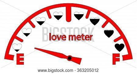 Love Meter. Valentines Day Card, Love Indicator With Black Hearts And Love Gauge. Analog Attraction