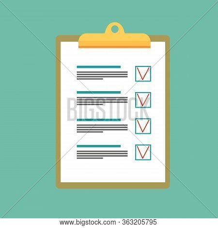Wooden Clipboard With Paper With Application Fill In Form Questionnaire On Turquoise Background. Bus