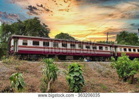 Kanchanaburi, Thailand 12.28.2019: An Unforgettable Journey On The Historical Death Railway On An Ol