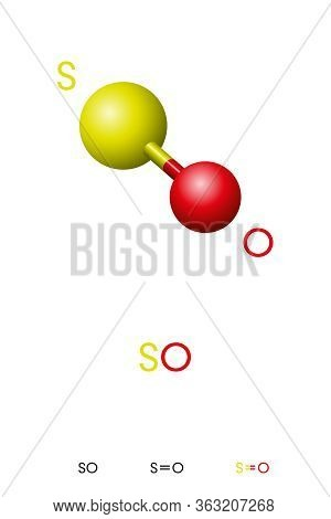 Sulfur Monoxide, So, Molecule Model And Chemical Formula. Sulfur Oxide, An Inorganic Compound And Co