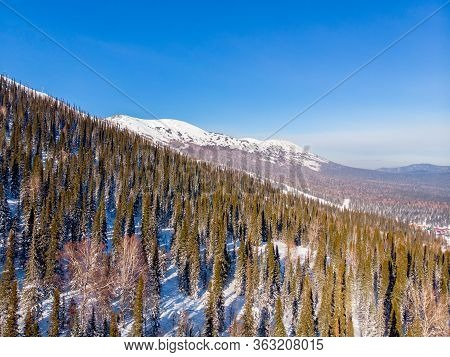 Sheregesh Kemerovo Region Ski Resort In Winter, Landscape On Mountain And Hotels, Aerial Top View