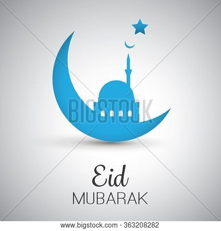 Eid Mubarak - Moon In The Sky - Greeting Card With Mosque For Muslim Community Festival