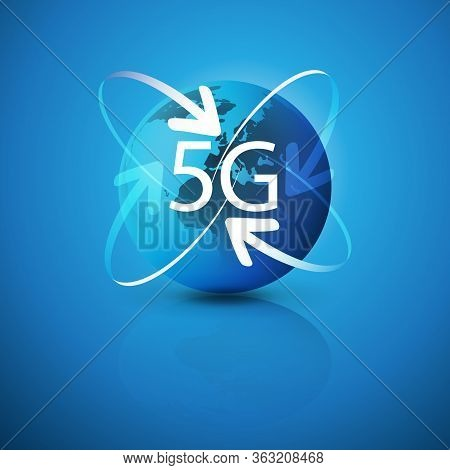 5g Network Label With Earth Globe And Arrows - Abstract Futuristic High Speed, Broadband Mobile Tele