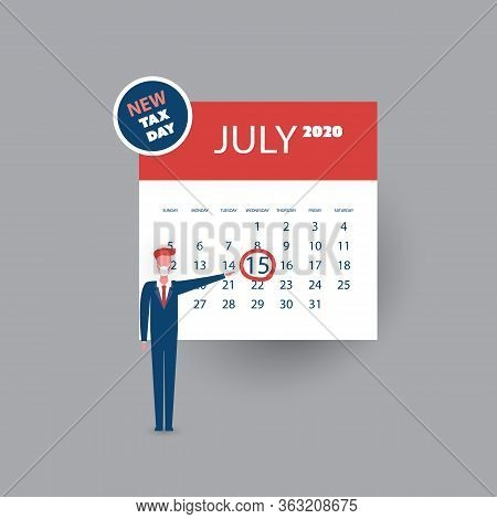 Tax Day Reminder Concept - Calendar Design Template With Businessman - Usa Tax Deadline, New Extende
