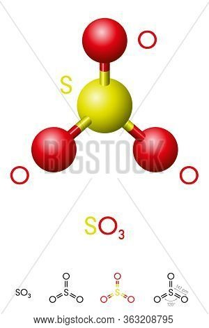 Sulfur Trioxide, So3, Molecule Model And Chemical Formula. Significant Pollutant And Primary Agent I