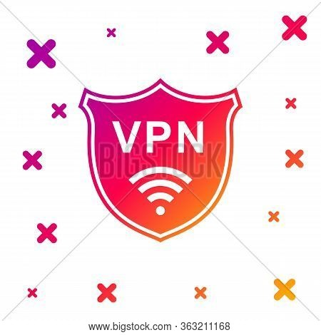 Color Shield With Vpn And Wifi Wireless Internet Network Symbol Icon On White Background. Vpn Protec