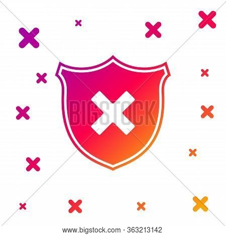 Color Shield And Cross X Mark Icon Isolated On White Background. Denied Disapproved Sign. Protection