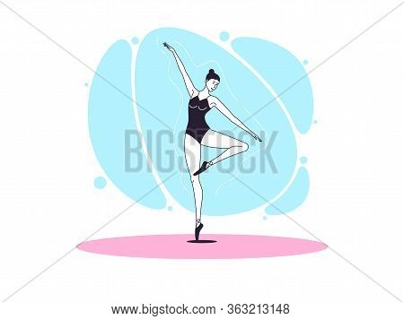 Graceful Ballerina Woman In Outline Minimalist Style. Ballet Dancer Stands On One Leg, Bends Second