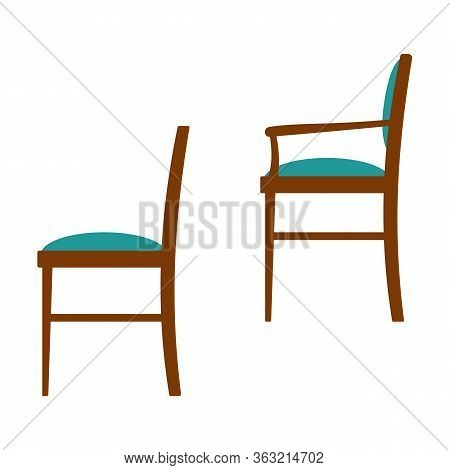 Vector Illustration Of Set Of Classic Design Wooden Chairs With Soft Upholstered Fabric Seat Backres
