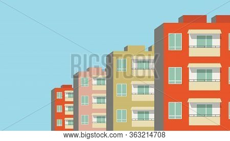 Vector Illustration Of Row Of Modern Multicolored Multistory High-rise Residential Apartment Buildin