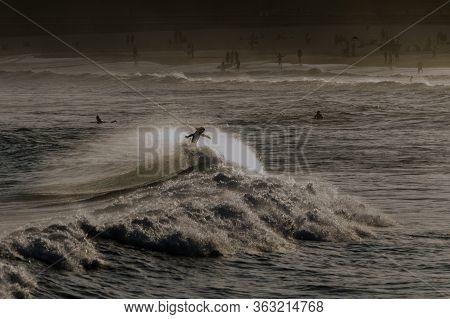 Sydney Bondi Beach Surfer At Dusk And Whitecap
