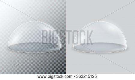 Transparent Glass Dome. Vector Hemisphere Isolated On A Transparent Background.
