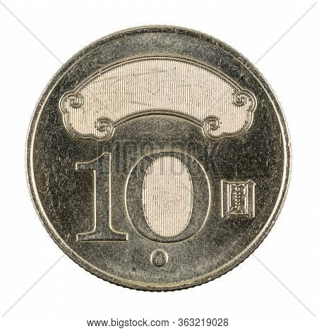 10 New Taiwan Dollar Coin Reverse Isolated On White Background