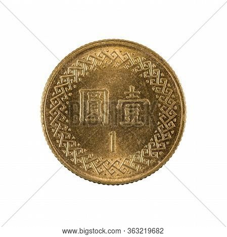 1 New Taiwan Dollar Coin Reverse Isolated On White Background