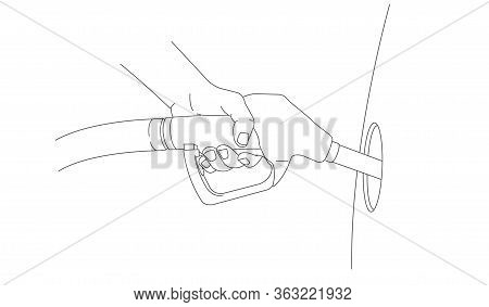 Line Illustration Of Hand With Gas Gun Refuelling The Car With Patrol, Reakistic Linear Graphic, Sid