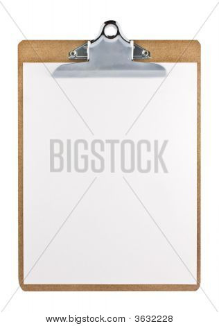 Clipboard With A White Paper Sheet