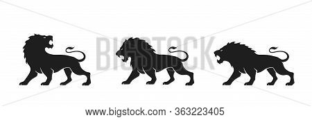 Lion Icon Set. Vector Silhouette Image Of Animal For Emblem And Logo. Courage, Valor And Power Symbo
