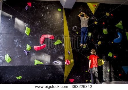 Rock Climbing Training Wall. Extreme Sports. Leisure And Physical Education For Children And Adolesc