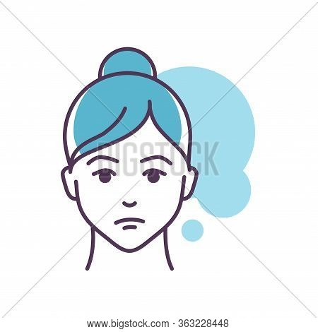 Human Feeling Helplessness Line Color Icon. Face Of A Young Girl Depicting Emotion Sketch Element. C