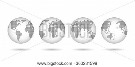 Hemisphere Dotted World Map Sphere Set, Worldwide Cartography Collection Concept, Dots Globe Backgro