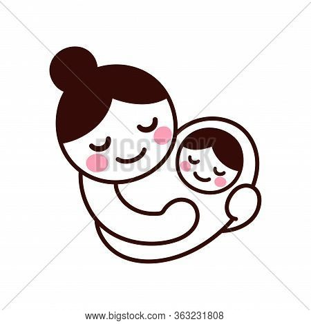Cute And Simple Drawing Of Mom Holding Baby. Hand Drawn Doodle Of Woman With Newborn Child. Isolated
