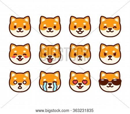 Set Of Cute Shiba Inu Puppy Emoticons With Different Expressions. Funny Dog Emoji Faces. Simple Cart