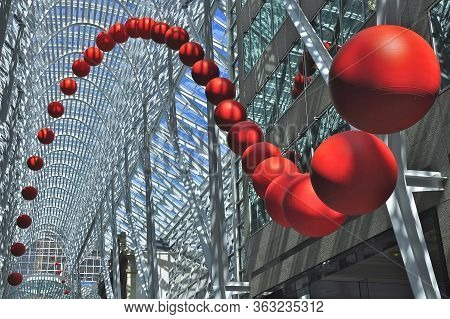 Toronto, Ontario, Canada - 06/12/2009:   A Group Of Red Balls Is Installed On The Atrium Of Brookfie