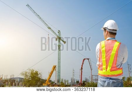 Young Male Architect On A Building Construction Site