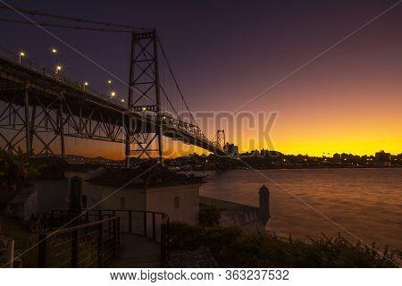 Cable-stayed Bridge Hercilio Luz In Florianopolis, Santa Catarina, Brazil