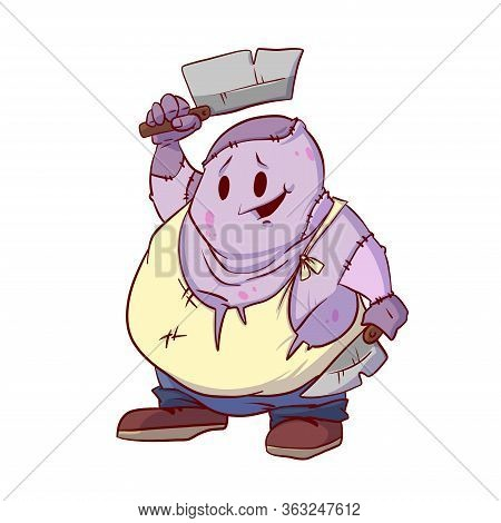 Colorful Vector Illustration Of A Cute Cartoon Zombie Butcher