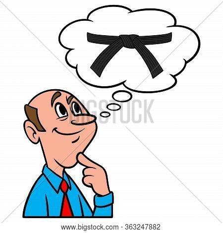 Thinking About A Karate Black Belt  - A Cartoon Illustration Of A Man Thinking About A Karate Black