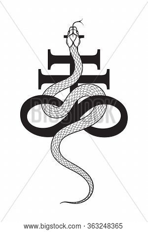 Serpent Over The Leviathan Cross Alchemical Symbol Of Sulphur Line Art And Dot Work. Boho Chic Tatto