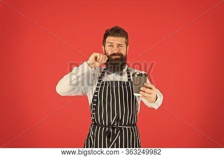 Retro Coffee House. Mature Man Red Background. Skilled Servant. Barista Hipster Chef Apron. Elegant
