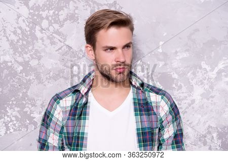 Skincare Routine For Better Results. Handsome Guy Abstract Background. Man With Unshaven Face Skin.