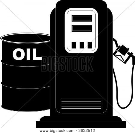 Gas Pump And Oil Barrel.