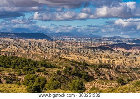 Landscape Near Bacor Olivar At Embalse De Negratin Reservoir Lake In Sierra Nevada National Park, Gr