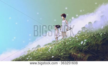 Waiting For You In A Beautiful Place. Woman And Her Child Standing On The Meadow Looking Forward At