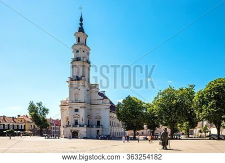 Kaunas, Lithuania - June 23, 2019: Town Hall Of Kaunas In Town Hall Square At The Heart Of The Old T