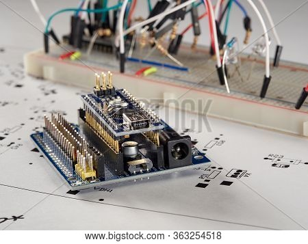 Electronics And Microprocessor.electronic Diy Project Arduino.drawing On A Light Background.do It Yo